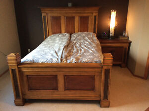 Rustic Solid Wood Queen Bed and Night Stand