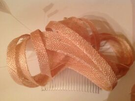 Peach straw and bead fascinator