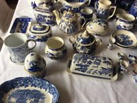 Large selection of blue and white pottery.