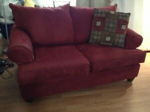 red microfiber loveseat free delivery