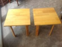 Two matching small pine occasional tables/ bedside / coffee table