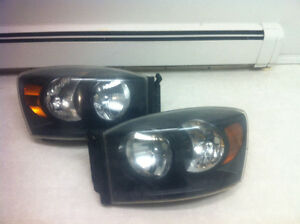 Black 06-09 dodge ram headlights