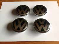 VW ALLOY WHEEL NEW CENTRE CAPS 4pcs x 65mm PASSAT,JETTA,SCIROCCO,GOLF.