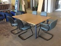 Beech conference table and six chairs