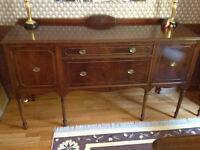 Antique Sheraton Dining Room Sideboard and Crystal Cabinet
