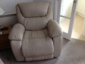 Cream Leather Recliner