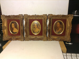 Vintage Cameo 3 Creation Lady Framed Miniatures