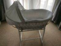 Baby's Moses basket cot on rocking stand in as new condition smoke and pet free