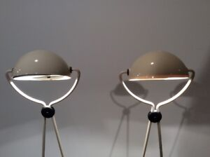 2x Vintage Meridiana Table Lamps by S. Cevoli, Design P. Piva