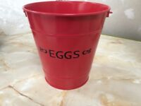 Red Egg Bucket Vintage Style