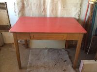 Small desk with Formica type top with drawer under