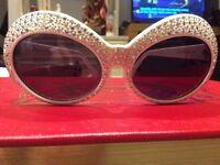 St Moritz Jackie Glitter Sunglasses White with swarovski