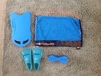 Childrens swim bag, floats & flippers size 2.5-3.