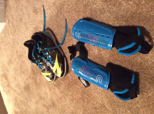 Indoor Soccer Shoes and knee pads- Size 1