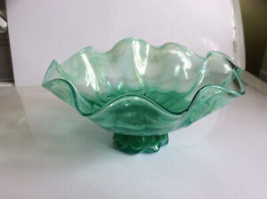 """6 1/2"""" green with white glass candy dish"""