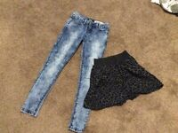 Clothes jeans and skirt