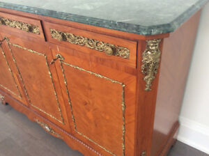 Italian Imported Buffet with gold trimiming and Green Marble top