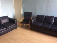 3+2 Black faux leather sofas