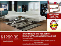 ◆Brand New 2pcs Bonded Leather Sectional W/Adjustable Headrest