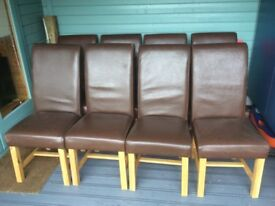 Set of Eight Dining Chairs, Oak Frames with Leather Covers