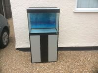 Complete tropical aquarium fish tank and cabinet