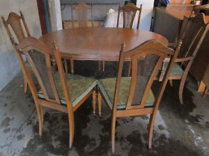 Solid walnut dining table set 4 sale