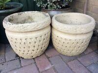 2 x Good Size Matching Stone Pots