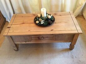 Very nice quality, solid pine, one drawer coffee table.