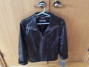 NewWomens black leather jacket