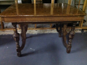 Antique Table with 4 Cane Chairs