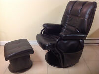 Reclining/swivel black chair with ottoman