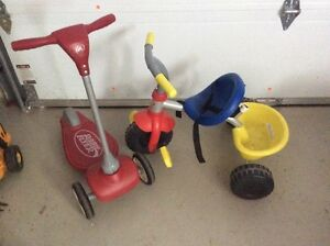 Kid scooter and tricycle / trottinette et tricycle