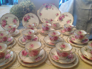 American Beauty Tea  for 12 by Royal Albert