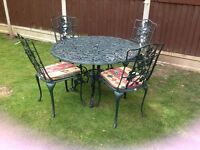 CAST ALUMINIUM NOVA GARDEN TABLE AND 4 CHAIRS GREEN