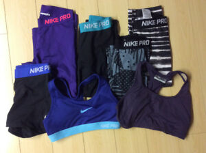 Women's Nike Pro Capris and sports bras must go!!