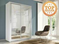 Lux 150 2 Door Sliding Wardrobe in white oak wenge black grey sonoma san remo full Mirror