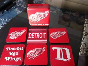 Detroit Red Wings Coaster Set With Collectible Tin