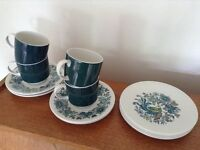 Vintage retro Royal Doulton coffee tea cups saucers and plates