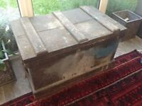 Large pine wooden chest trunk box storage