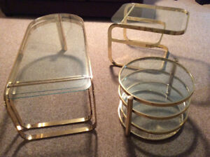 Brass and Glass Table Set