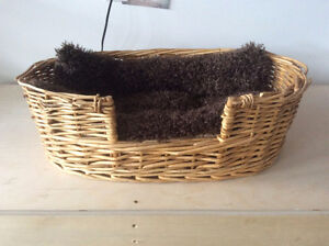 Small Pet Bed, Carrier and Water Bowl