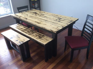 Beautiful refinished harvest table with 2 benches & 2 chairs