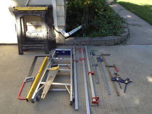 Sawhorses, ladder, clamps, level
