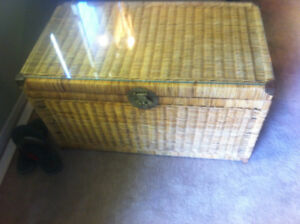 Wicker Blanket Box with glass top