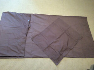 Brown Twin Size Duvet Cover with Sham