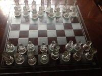 Glass show piece Art Deco chess set
