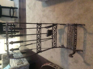 Cast iron fire wood holder and accessories