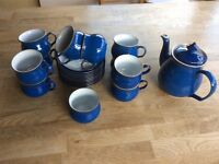 Denby Imperial Blue 8 piece Teaset and Teapot.