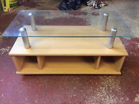 Ash finish tv unit with glass top