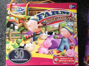Farm jigsaw puzzle kids toys games boy girl 30 pieces